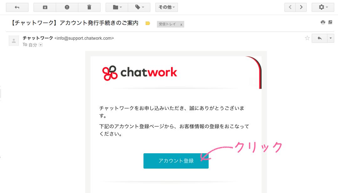 チャットワーク新規登録受信メール